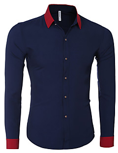 Men's Color Block Casual Shirt,Cotton Long Sleeve Blue / Red / White