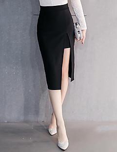 Mulheres Saias Altura dos Joelhos Moda de Rua Algodão Micro-Elástica Mulheres