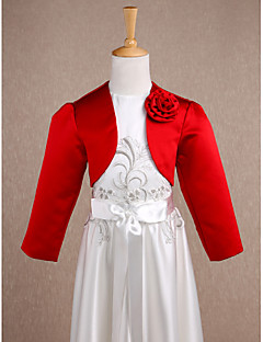 Kids' Wraps Shrugs Long Sleeve Satin Red Wedding / Party/Evening Wide collar Flower(s) Open Front