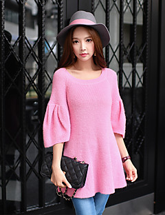 Women's Going out / Casual/Daily / Work Vintage / Cute / Street chic Regular Pullover,Solid Round Neck ½ Length Sleeve