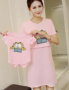 Courte Robe Maternité Décontracté / Quotidien simple,Imprimé Col Arrondi Mi-long Manches Courtes Rose / Blanc Coton Eté