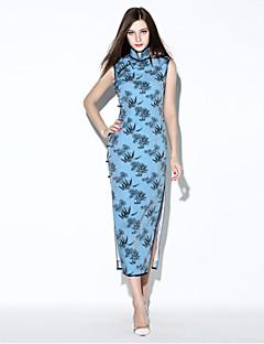 i-yecho Frauen einfacher Druck, figurbetontes Kleid, stehen midi Polyester