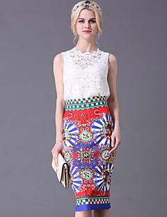 Uden ærmer Rund hals Medium Dame Hvid Ensfarvet / Blomstret Sommer Vintage I-byen-tøj Sæt Skjørte Suits,Bomuld / Polyester