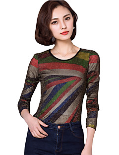 Women's Going out Street chic Fall / Winter ,Round Neck Long Sleeve Blouse