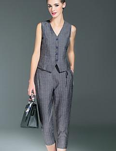 Damen Solide Einfach Lässig/Alltäglich / Formal Set Hose,V-Ausschnitt Sommer Ärmellos Grau Polyester / Elasthan Mittel