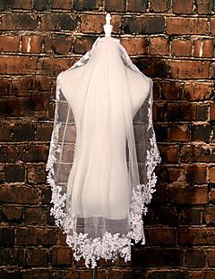 웨딩 면사포 한층 팔꿈치 베일 레이스처리된 가장자리 명주그물 / 레이스 아이보리 아이보리