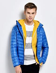 Men's Regular Warm Plus Size Down Coat,Polyester Color Block Long Sleeve