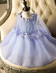 A-line Short / Mini Flower Girl Dress - Tulle Sleeveless Jewel with Lace