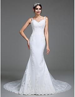 Lanting Bride® 트럼펫 / 머메이드 웨딩 드레스 코트 트레인 스트랩 튤 와 아플리케 / 버튼