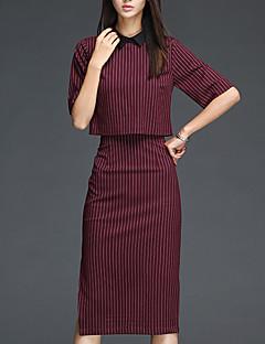 Women's Casual/Daily Simple Fall Set Skirt,Striped Shirt Collar ½ Length Sleeve Red Cotton Medium