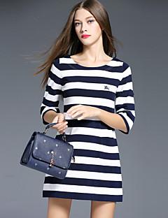 i-yecho Frauen Vintage Mantel Rundhals Gehen über Kniehülse blau Polyester / Nylon dressstriped