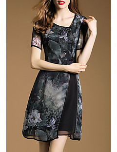 Boutique S Women's Going out Sophisticated Sheath Dress,Floral Asymmetrical Above Knee Short Sleeve Black Rayon Summer