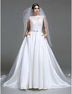 Lanting Bride A-line Wedding Dress Chapel Train Bateau Satin with Appliques / Bow / Button