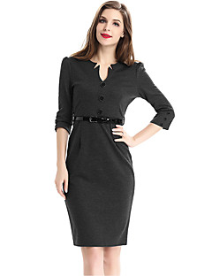Women's Plus Size / Casual/Daily / Work Street chic Sheath Dress,Solid V Neck Knee-length ¾ Sleeve with Belt