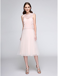 Lanting Bride Tea-length Lace / Tulle Bridesmaid Dress - Two Pieces A-line Jewel with Lace
