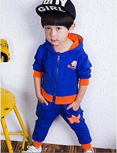 Jungen Kleidungs Set-Lässig/Alltäglich einfarbig Baumwolle Winter / Frühling / Herbst Blau / Orange