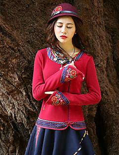 Damen Standard Pullover-Ausgehen Retro Stickerei Rot / Lila Rundhalsausschnitt Langarm Baumwolle Frühling / Herbst Mittel Mikro-elastisch