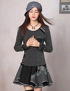 Damen Standard Pullover-Ausgehen Retro Druck Grau / Orange Rundhalsausschnitt Langarm Kunstseide / Acryl / Elasthan Frühling / Herbst