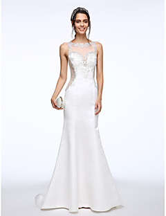 Lanting Bride® Trumpet / Mermaid Wedding Dress Sweep / Brush Train Bateau Satin with Beading / Button / Appliques