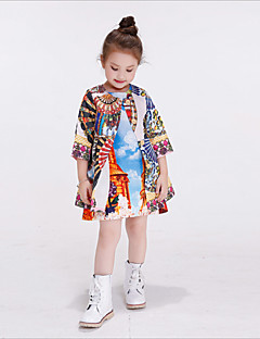 Girl's Casual/Daily Print Trench CoatCotton / Rayon Winter / Spring / Fall Blue / Multi-color