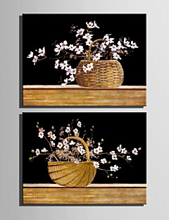 E-HOME® Stretched Canvas Art The Flower Basket Decoration Painting  Set of 2