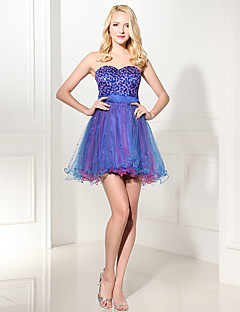 Cocktail Party Dress Ball Gown Sweetheart Knee-length Organza with Sequins