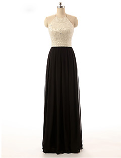 Prom Formal Evening Dress - Color Block A-line Halter Floor-length Chiffon with Beading