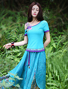 Kortærmet Skulderfri Medium Damer Farveblok Sommer Vintage I-byen-tøj T-shirt,Polyester Spandex
