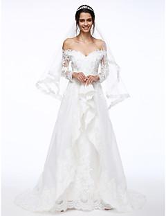 LAN TING BRIDE A-Şekilli Düğün elbisesi Eski Tiplerden Esinlenilmiş Süpürge / Fırça Kuyruk Düşük Omuz Dantelalar Organze ileAplik Boncuk