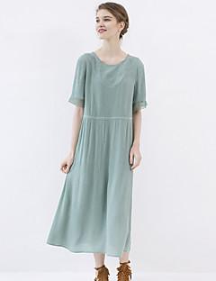 Idylle Insel Frauen gehen die out / casual / täglich einfach eine Linie dressembroidered Rundhals midi kurze Ärmel Sommer