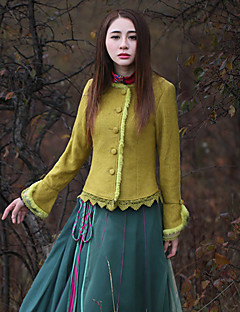 Our Story Women's Going out Vintage JacketsSolid Round Neck Long Sleeve Winter Yellow Wool / Polyester Thick