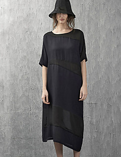 Sunny Maternity Casual/Daily Simple Shift DressSolid Round Neck Midi  Length Sleeve Black Silk / Linen / Rayon Summer