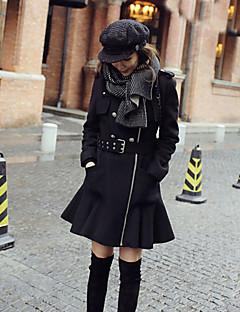 Munka Vintage Téli-Női Kabát,Egyszínű Állógallér Hosszú ujj Fekete Gyapjú Közepes vastagságú