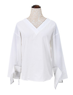 Bomull Blå / Hvit Medium Langermet,V-hals Skjorte Ensfarget Høst Enkel Fritid/hverdag Kvinner