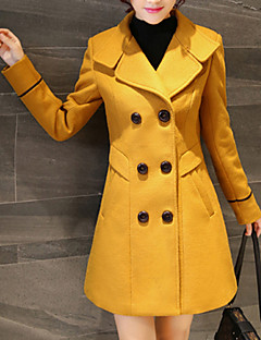 Women's Going out Cute Coat,Solid Shirt Collar Long Sleeve Fall / Winter Red / Yellow Wool / Polyester Thick