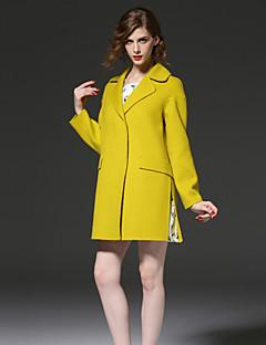 FRMZ  Women's Going out Simple CoatSolid Notch Lapel Long Sleeve Fall / Winter Yellow Wool / Polyester Medium