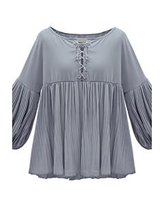 אחיד צווארון V סגנון רחוב יום יומי\קז'ואל חולצה נשים,סתיו / חורף שרוול ארוך אפור דק פוליאסטר