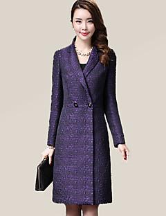 אחיד דש רשמי סגנון רחוב מידות גדולות מעיל נשים,סגול שרוול ארוך סתיו / חורף בינוני (מדיום) פוליאסטר