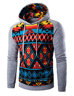 Men's Print / Color Block Casual / Sport HoodieCotton Long Sleeve Black / Gray