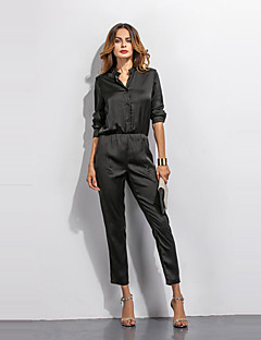 3/4 ærmelængde Kvinders Simpel / Street Jumpsuits Mikroelastisk Polyester