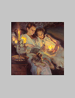 E-HOME® Stretched LED Canvas Print Art Sister Nestling Candlelight LED Flashing Optical Fiber Print One Pcs