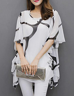 Women's Flare Sleeve Casual/Daily Plus Size Summer Blouse,Print Round Neck Short Sleeve White/Black Polyester Medium