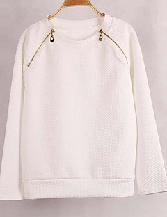 Women's Casual/Daily Simple Regular HoodiesSolid White Round Neck Long Sleeve Faux FurWinter Medium Inelastic