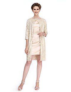 Sheath / Column Mother of the Bride Dress Short / Mini 3/4 Length Sleeve Lace / Stretch Satin with Beading / Buttons