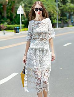 Damen Solide Anspruchsvoll Ausgehen Set Rock,Rundhalsausschnitt Sommer ½ Länge Ärmel Weiß Baumwolle / Polyester Dünn