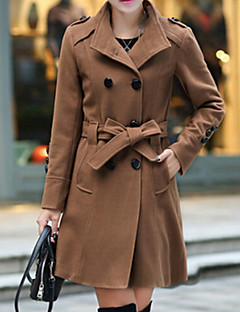 Women's New Stand Double Breasted Solid Trench Coat , Casual / Work Long Sleeve
