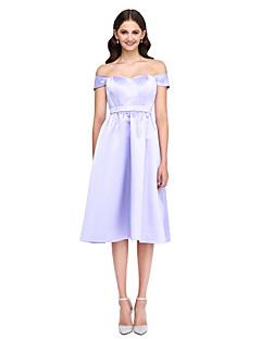 LAN TING BRIDE באורך  הברך מתחת לכתפיים שמלה לשושבינה - אלגנטי שרוול קצר סאטן