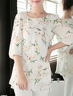 Mulheres Blusa Casual Plus Sizes / Fofo Todas as Estações,Floral Branco Poliéster Decote Redondo Manga ¾ Fina