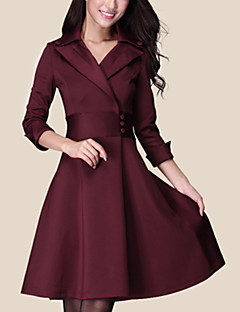Women's Casual Micro Elastic Long Sleeve Above Knee Dress (Polyester)