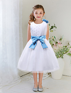 A-line Tea-length Flower Girl Dress - Satin / Tulle Sleeveless Jewel with Beading / Bow(s) / Flower(s)